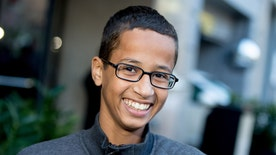 Ahmed Mohamed accepting scholarship for secondary and undergraduate education