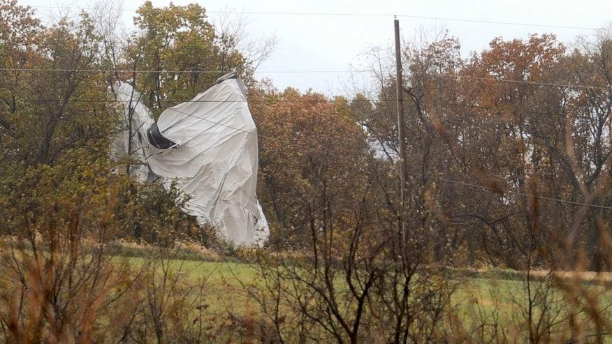 Military blimp breaks off of moorings at Maryland military base