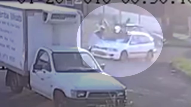 Crash sends pedestrians flying in hit-and-run caught on tape