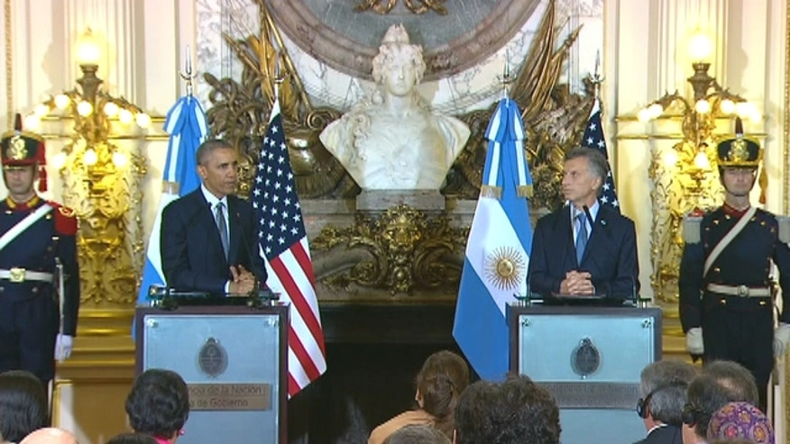 President Obama participates in a Press Conference with Pres Macri at the Casa Rosada in Buenos Aires, Argentina.