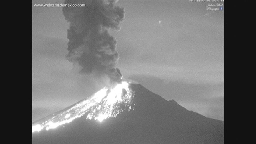The Popocatepetl volcano in central Mexico exploded on Sunday, spewing incandescent rocks and ash into the sky.
