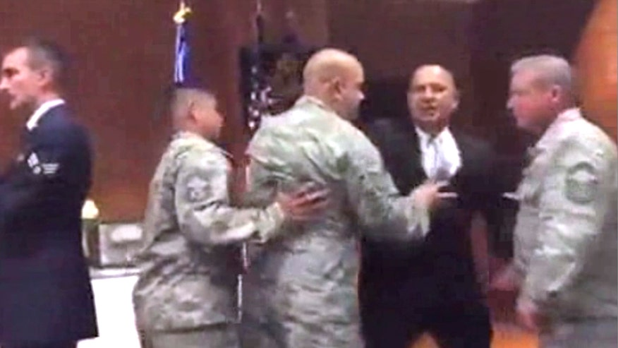 Raw video: Physical confrontation during flag folding at Travis Air Force Base