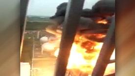 Raw video: Blaze triggers huge blast at port in Jingjiang