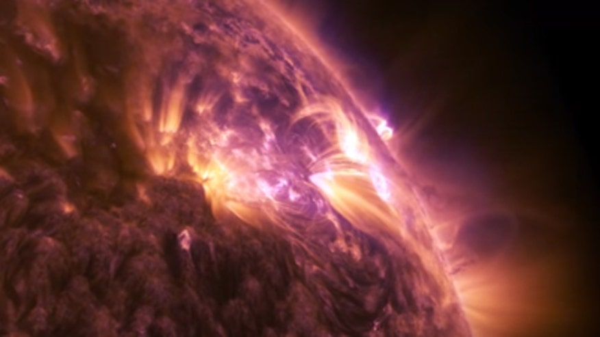 Raw video: Breathtaking clip of solar storm