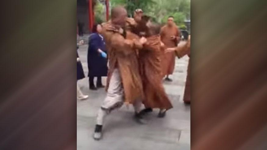 Raw video: Disagreement between 'non-violent' monks turns violent