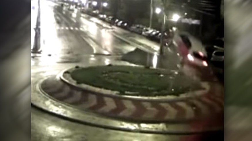 Raw video: Wild CCTV footage from Romania