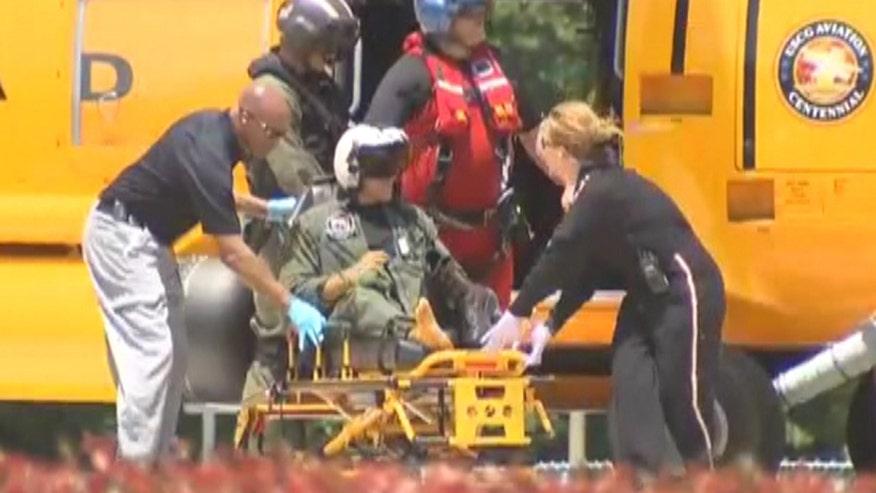 Raw video: Chopper transports airmen to hospital after F/A-18F Super Hornets crash off North Carolina coast