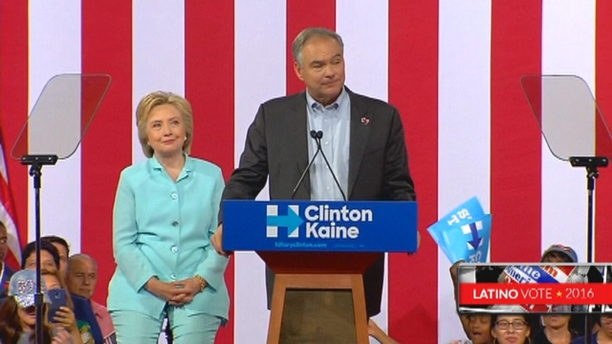Hillary Clinton's running mate, Sen. Tim Kaine of Virginia, made his debut alongside Clinton in the crucial battleground state of Florida on Saturday afternoon.