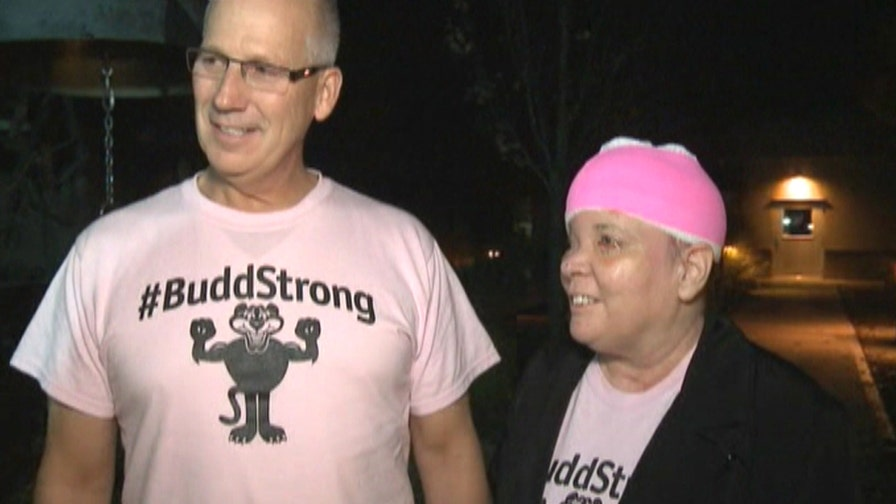 Raw video: Sharon Budd, who was severely injured when a rock crashed through her car windshield, speaks out after hospital release with husband Randy