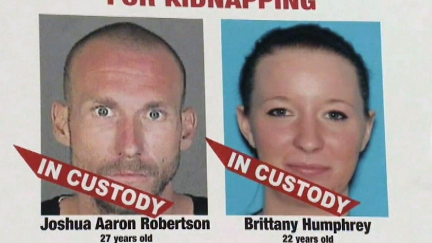 The Los Angeles County Sheriff's Department says Joshua Robertson and Brittany Humphrey were arrested Thursday in Pueblo, about 40 miles south of Colorado Springs
