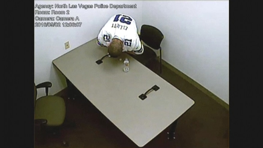 Video shows a Nevada homicide suspect breaking a set of handcuffs before climbing onto a chair to remove a ceiling tile and escaping custody.