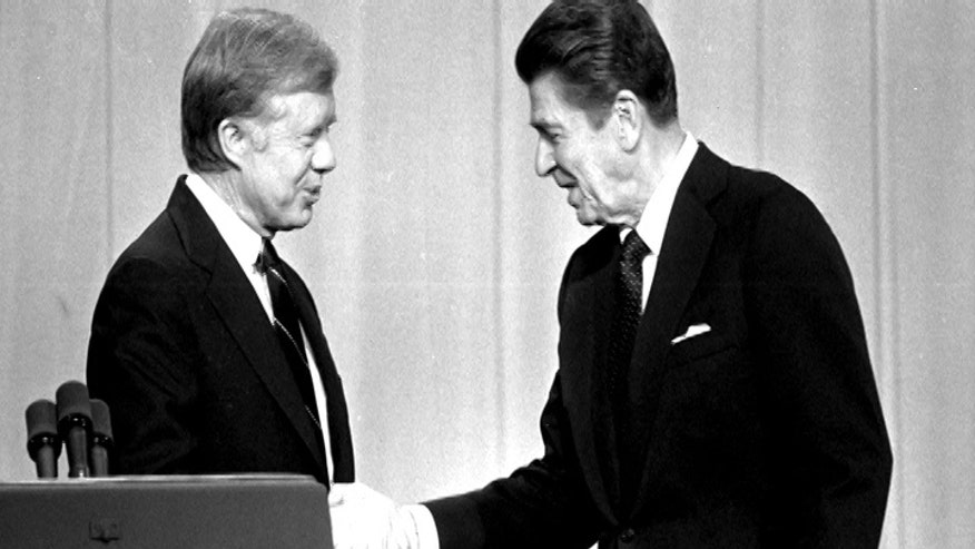 A look back at how a charismatic, folksy Reagan persuaded the American people in election and reelection campaign debates