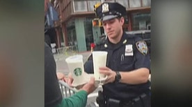 Starbucks employee donates and delivers coffee and pastries to NYPD and FDNY first responders day after terror attack in Chelsea neighborhood