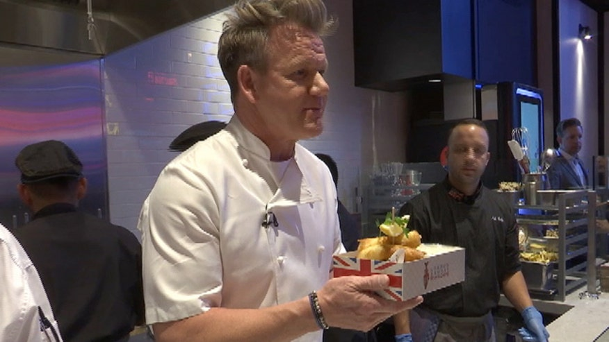 The celebrity chef serves up signature fish and chips on the Las Vegas strip
