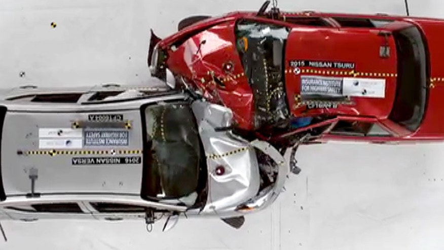 The Insurance Institute for Highway Safety crashed similar cars from the United States and Mexico to illustrate the difference in safety standards.