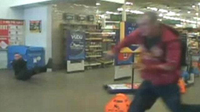 Dramatic gunfight in Walmart caught on video