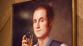 DC area restaurant 'Farmers & Distillers' commissions portrait of young, hipster version of George Washington