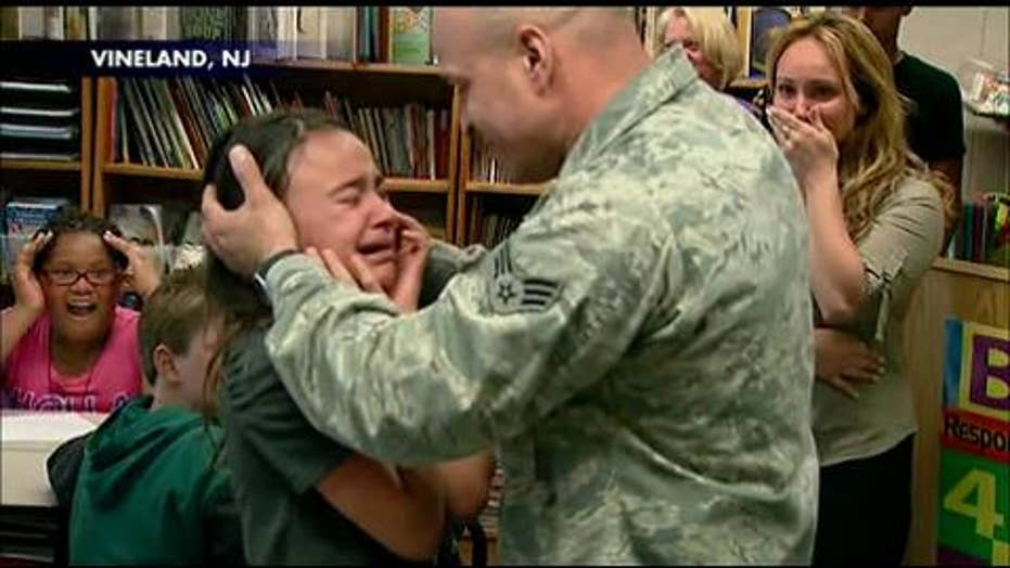 Emotional Reunion: Military Father Surprises Daughter at School After Arriving Home From Afghanistan