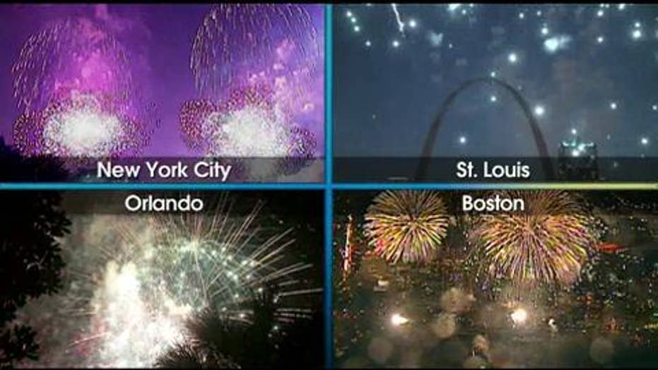 Watch: July Fourth Fireworks Displays Around the Country
