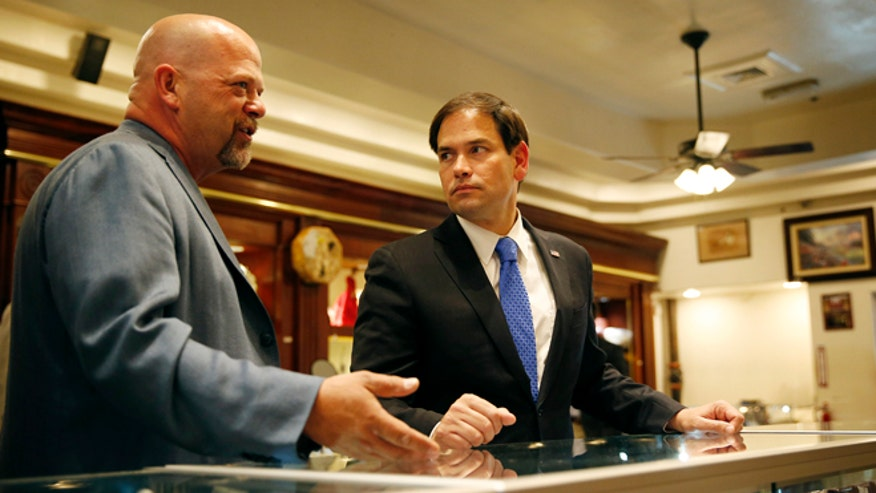 Florida Senator Marco Rubio makes campaign stop at 'Pawn Stars' shop in Las Vegas.
