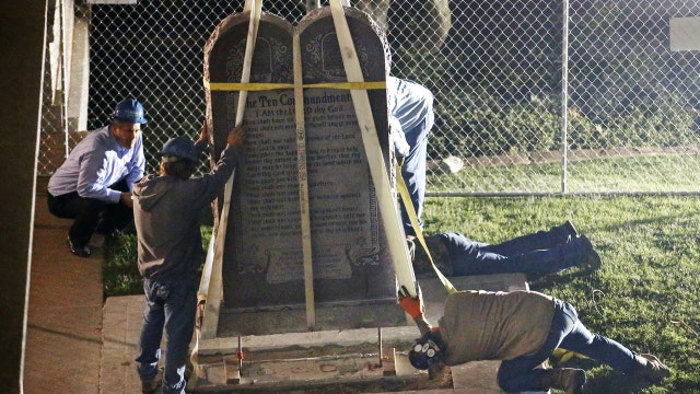 Ten Commandments monument moved from Okla. Capitol grounds
