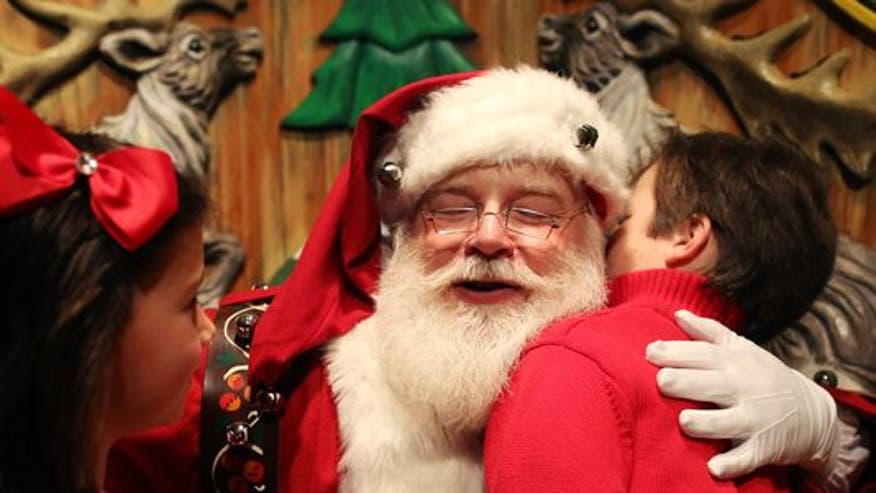 """Greta's 'Off the Record' comment to 'On the Record' viewers: A New York City mall booted Santa Claus from a prime location to a sparse room described as """"prison-like."""" Messing with Santa and children is pretty low!"""