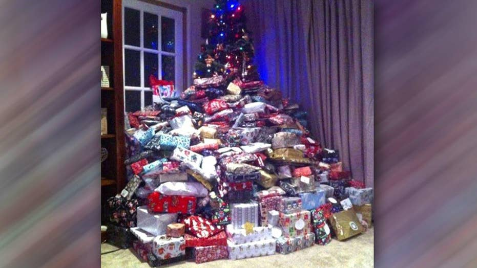 Wrong message? Image of tree piled with gifts goes viral
