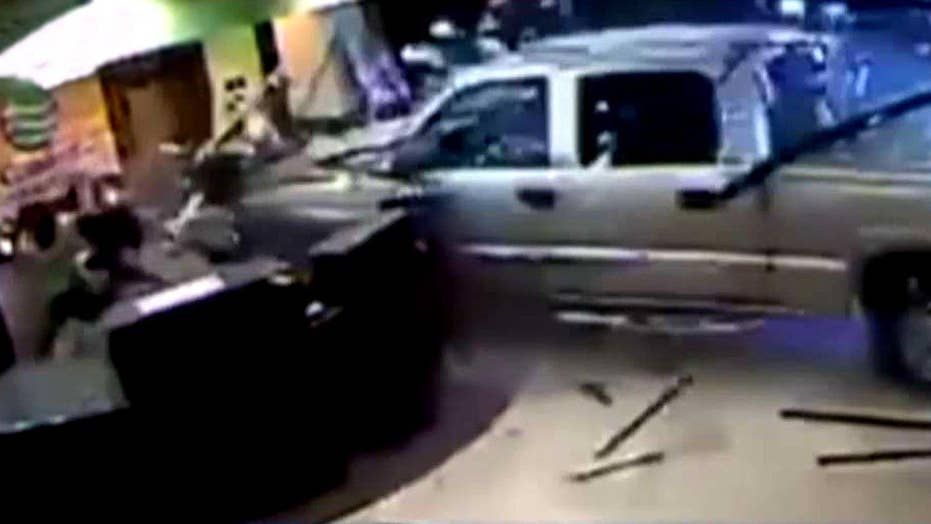 Furious guest rams truck into hotel lobby