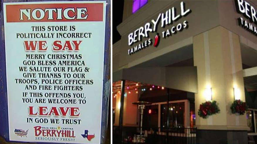 Eatery touts un-P.C. policy of saying 'Merry Christmas;' Reaction on 'Outnumbered'