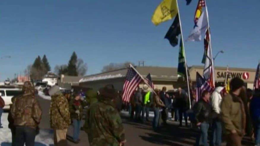 Demonstrators protesting prosecution of two local ranchers