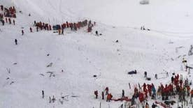 Rescue operation at ski resort in French Alps