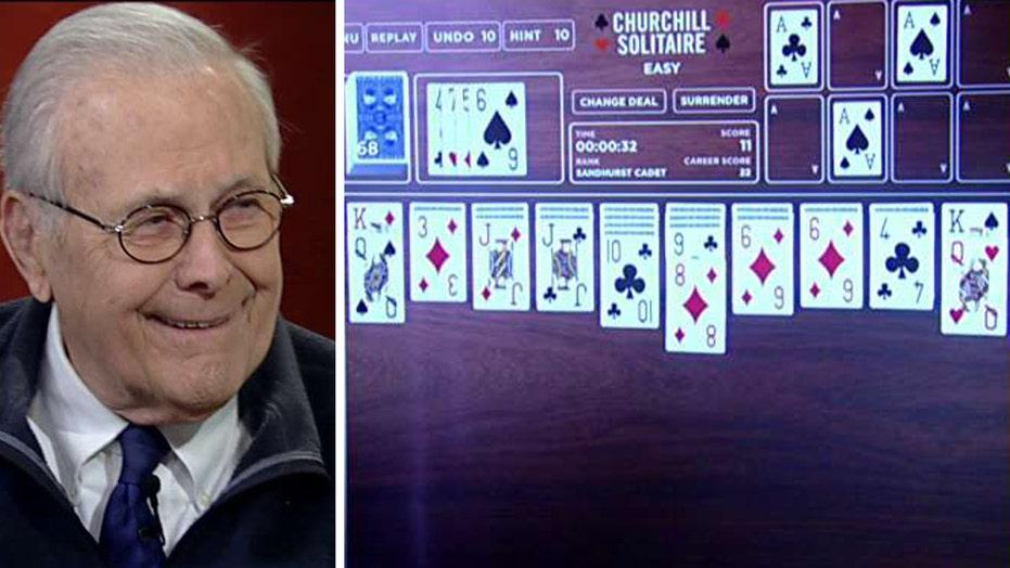 Donald Rumsfeld debuts 'Churchill's Solitaire'