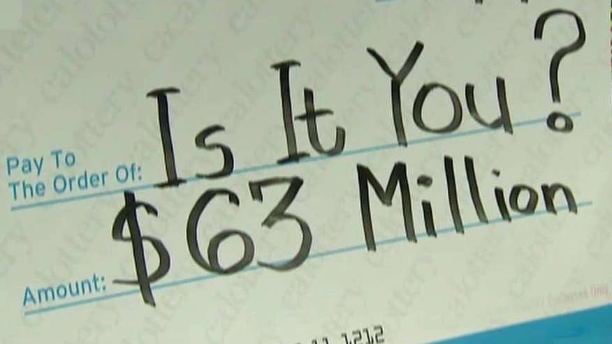 The holder of a winning lottery ticket has one day to claim $63 million jackpot