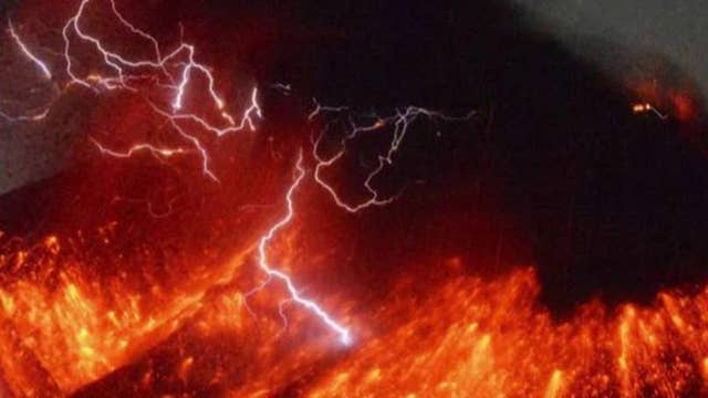 Lightning flashes around Volcano eruption in Japan