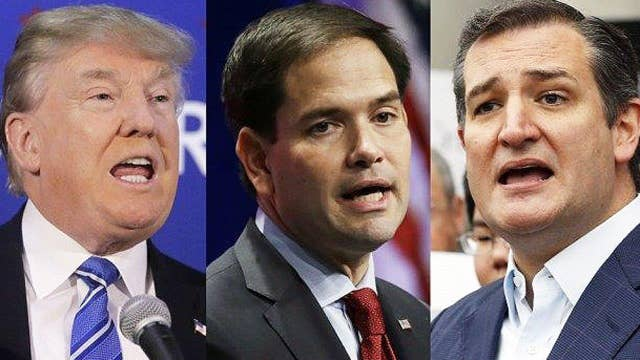 GOP rivals pounce as storm keeps Trump from New Hampshire