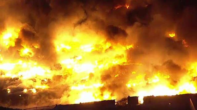 Massive fire rages through an industrial park in New Jersey