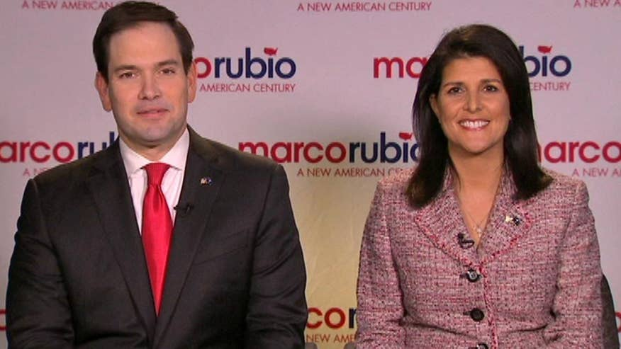 GOP presidential candidate scores a key endorsement days before the South Carolina primary. Gov. Haley tells Rubio and 'On the Record' why she's backing the senator in the presidential race