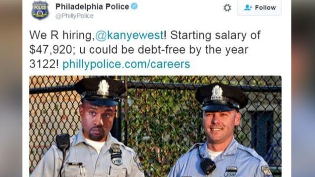 Cops troll Kanye: Police offer debt-stricken rapper a job