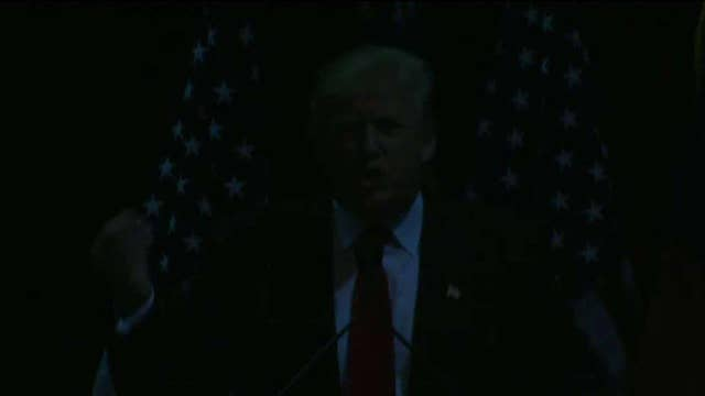 Lights out! Protesters pull the plug at Trump rally