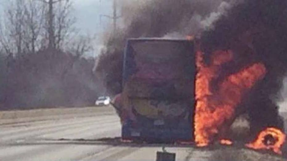 Video: Megabus explodes on highway after fire breaks out