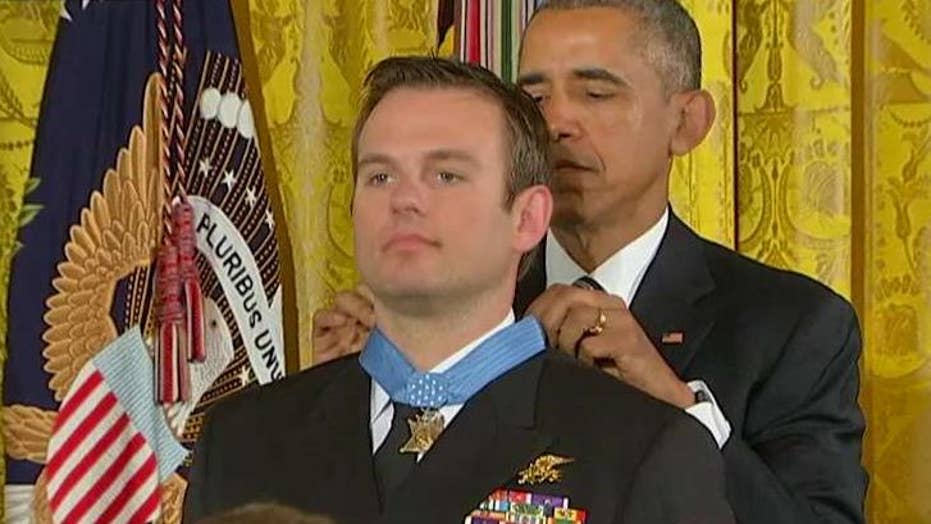 President presents Medal of Honor to Navy SEAL Edward Byers