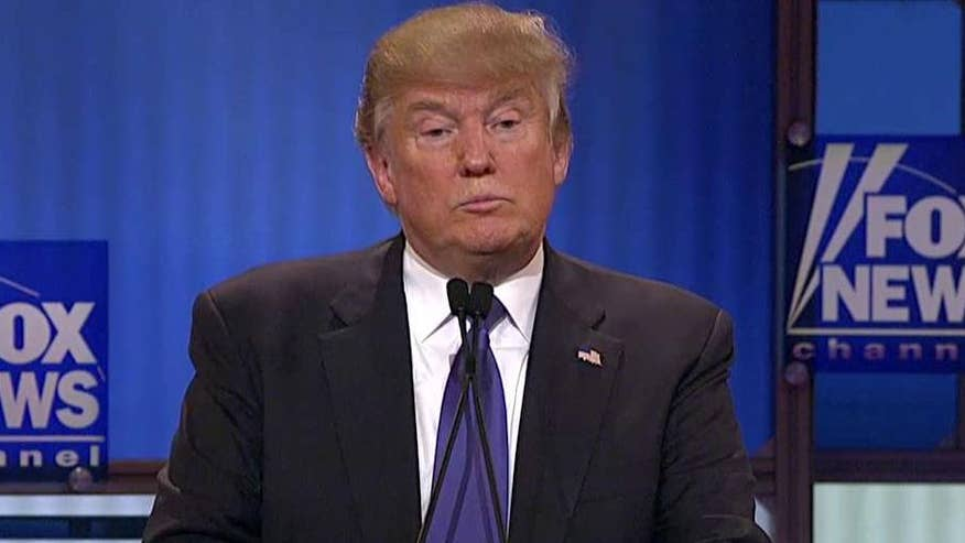 Republican presidential frontrunner weighs in at the GOP presidential debate in Detroit #GOPDebate