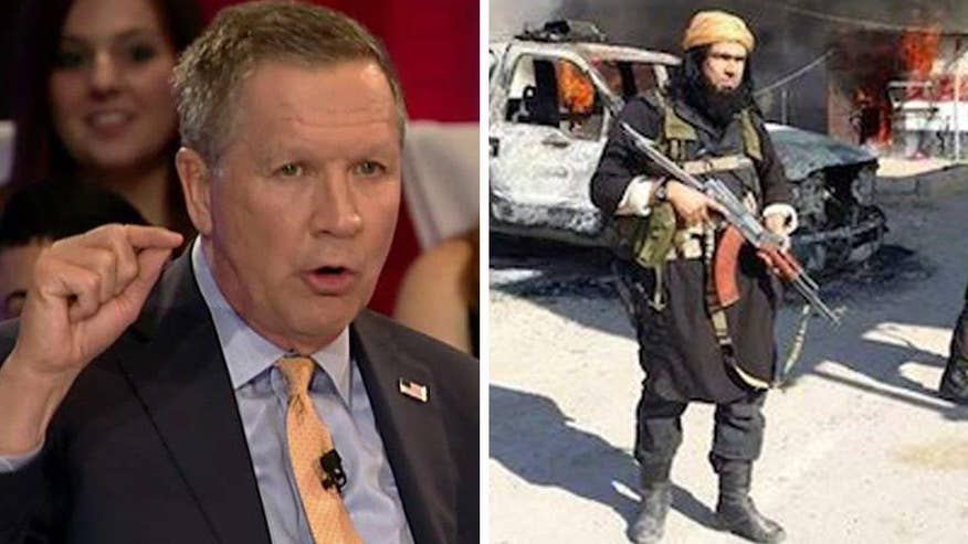 'On the Record' Town Hall: GOP presidential candidate and Ohio governor John Kasich reveals his strategy for combating crisis in Syria and ISIS, saying he doesn't believe in direct US intervention in civil wars