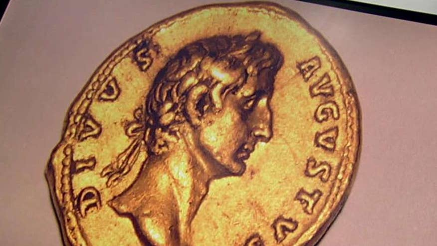 2,000-year-old coin bearing the image of Roman Emperor Augustus