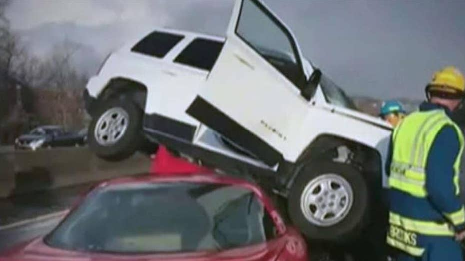 Massive 94-car pileup closes highway in North Carolina