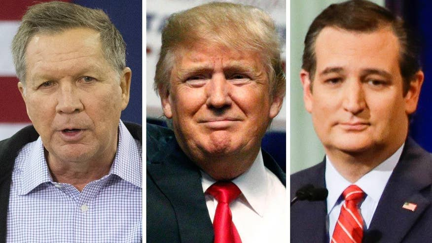 Republican civil war - and the seeds of a contested convention planted - as Donald Trump, Ted Cruz and John Kasich back out of promise to suppert GOP, no matter who it is
