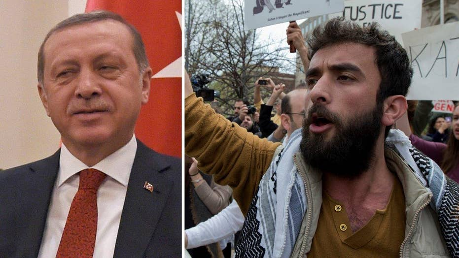 Protests spin out of control during Erdogan's DC visit