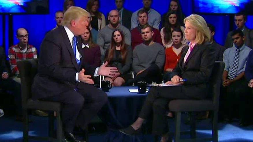 'On the Record' Town Hall with Donald Trump: 2016 GOP front-runner says US can't continue spending billions on other countries that may be capable of defending themselves, says he wants reimbursement for America