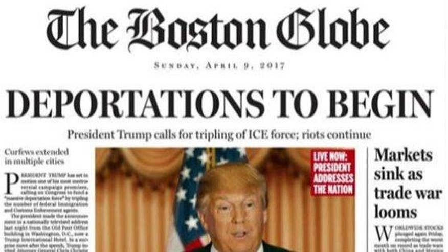 Slams GOP presidential frontrunner with parody front page; more evidence of media bias