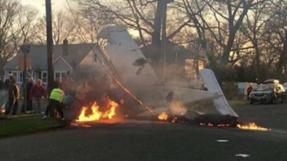 Small plane crashes on Long Island street